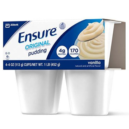 Ensure Pudding, Vanilla, 4-Ounce Cups In 4-Count Packages (Pack Of 12 Cups)