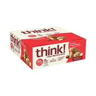 Think! (Thinkthin) High Protein Bars - Chunky Peanut Butter, 20G Protein, 0G Sugar, No Artificial Sweeteners, Gluten Free, Gmo Free*, 2.1 Oz Bar (10Count - Packaging May Vary)