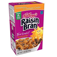 Kellogg'S Raisin Bran, Breakfast Cereal, Original, Excellent Source Of Fiber, Single Serve, 1.52 Oz Box(Pack Of 70)