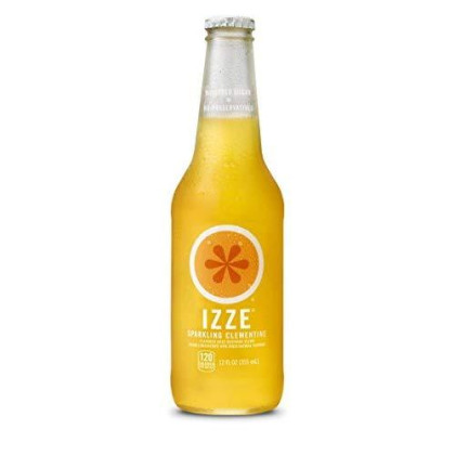 Izze Sparkling Juice, Clementine, 12 Oz Glass Bottles, 4 Count