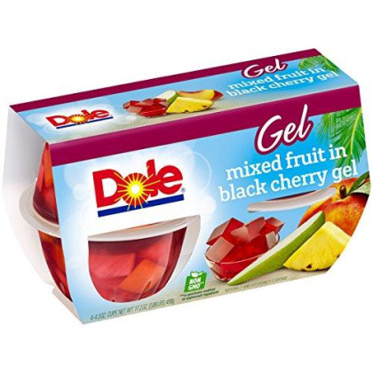 Dole Fruit Bowls, Mixed Fruit in Black Cherry Gel, 4.3 Ounce Cups (Pack of 4)