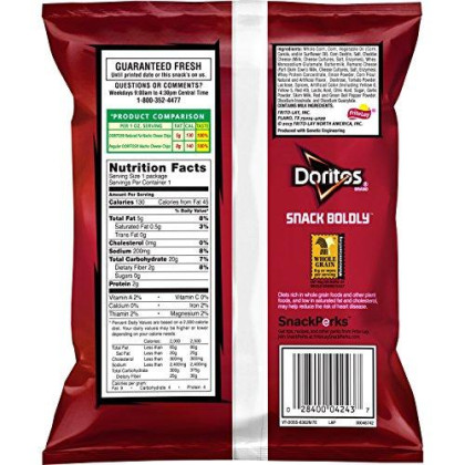 Doritos Reduced Fat Nacho Cheese Flavored Tortilla Chips, 1 Ounce (Pack of 72)