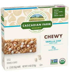 Cascadian Farm Organic Chewy Granola Bar Vanilla Chip 6-1.2 Oz Bars