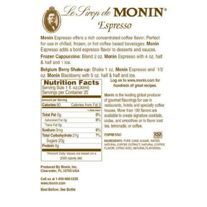 Monin Flavored Syrup, Espresso, 33.8-Ounce Plastic Bottles (Pack of 4)