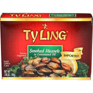 Ty Ling Smked Mussels, 3.66-Ounce Cans (Pack Of 10)