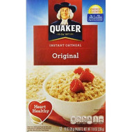 Quaker Instant Oatmeal Regular, 1 box (12- .98 oz packets), net weight 11.8 oz