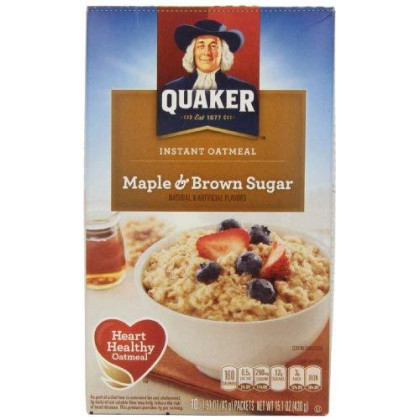 Quaker, Instant Oatmeal, Maple Brown Sugar, 10 Ct
