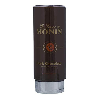 Monin - Gourmet Dark Chocolate Sauce, Velvety And Rich, Great For Desserts, Coffee, And Snacks, Gluten-Free, Vegan, Non-Gmo (12 Ounce)