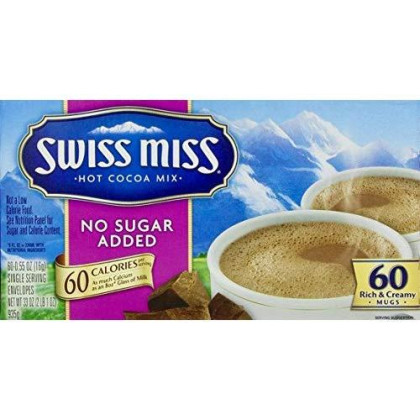 Swiss Miss Milk Chocolate No Sugar Added Not Sugar Free Premium Hot Cocoa Mix - 60-0.55oz Envelope Pack