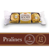 Ferrero Rocher Fine Hazelnut Milk Chocolate, 3 Count, Pack Of 12 Individually Wrapped Chocolate Christmas Candy Gifts, 1.3 Oz, Great Stocking Stuffers
