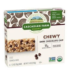 Cascadian Farm Organic Granola Bars, Chocolate Chip Chewy Granola Bars, 6 Bars, Net Wt 7.4 Oz (Pack Of 6)