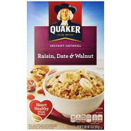 Quaker Instant Oatmeal, Raisin, Date & Walnut, 13 oz
