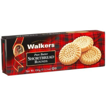 Walkers Shortbread Pure Butter Rounds, 5.3 Ounce Box (Pack Of 4) Traditional Pure Butter Shortbread Cookies From The Scottish Highlands, Quality Ingredients, No Artificial Flavors