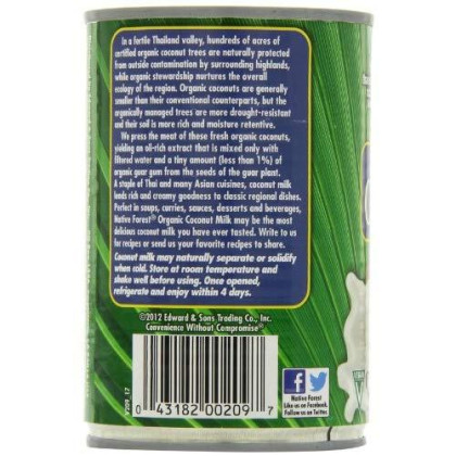 Native Forest Organic Light Coconut Milk Reduced Fat, 13.5 Ounce Cans (Pack Of 12)