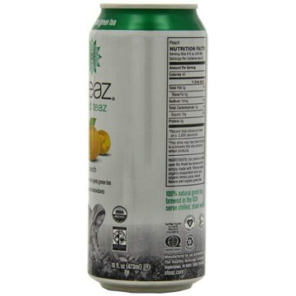 Steaz Organic Lightly Sweetened Iced Green Tea, Peach, 16 OZ (Pack of 12)