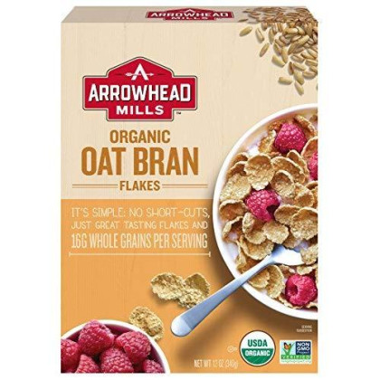 Arrowhead Mills Organic Cereal, Oat Bran Flakes, 12 oz. Box (Pack of 12)
