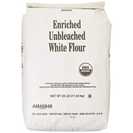 Arrowhead Mills Flour, Unbleached White, 95% Organic, 25 Pound Package