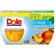 Dole Fruit Bowls, Diced Peaches In 100% Fruit Juice, 4 Ounce (36 Cups)