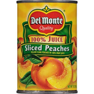 Del Monte Canned Yellow Cling Sliced Peaches In 100% Fruit Juice, 15-Ounce (Pack Of 12)