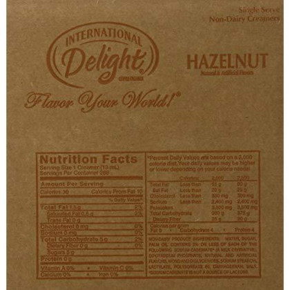 International Delight, Hazelnut, Single-Serve Coffee Creamers, 288 Count, Shelf Stable Non-Dairy Flavored Coffee Creamer, Great For Home Use, Offices, Parties Or Group Events