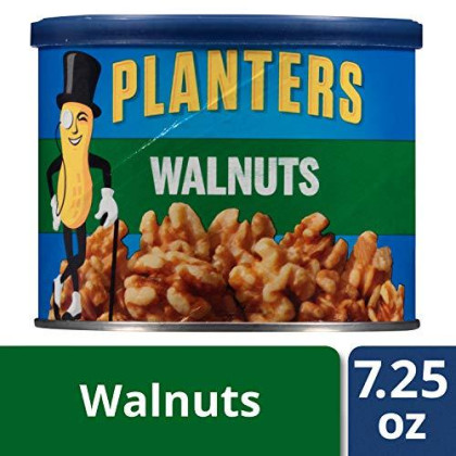 Planters Walnuts, Unsalted, 7.25 oz Canister (Pack of 3)