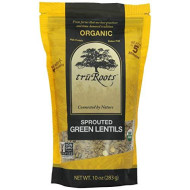 truRoots Organic Sprouted Green Lentils, 10-Ounce Pouches (Pack of 6)