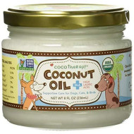 CocoTherapy Organic Virgin Coconut Oil, 8 Ounces, Natural Supplement for Dog Skin Coat Digestion and Immunity