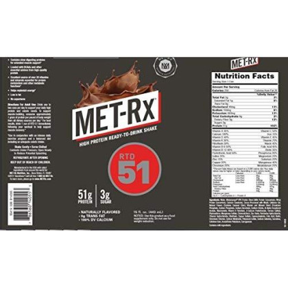 Met-Rx Rtd 51 Protein Shake, Ready To Drink And Convenient For Meal Replacement, Low Carb, Frosty Chocolate, 15 Oz, 12 Count