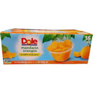 Dole Mandarin Oranges Fruit Cups - 16 X 4 Ounce - 64 Ounce