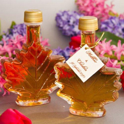 Mansfield Maple Pure Vermont Maple Syrup Wedding Favors Set of 24 100ml Glass Leaf Bottles