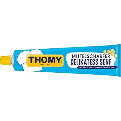 THOMY Delikatess Senf Mittelscharf (Medium Hot Mustard) in Tube - 200 ml