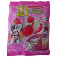 Unican Candy Milkita Strawberry Bag, 3.2-Ounce Packages (Pack Of 12)