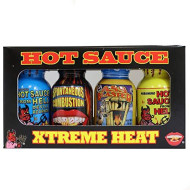 Xtreme Heat Hot Sauce Bottles Gourmet Gift Set Travel Size - 4 Pack - Try If You Dare! - Perfect Gourmet Christmas Gifts For The Hot Sauce Fan
