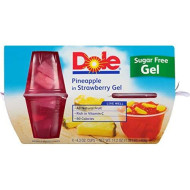 Dole Fruit Bowls, Pineapple in Strawberry Gel, 4.3 Ounce, 4 Cups (Pack of 24)