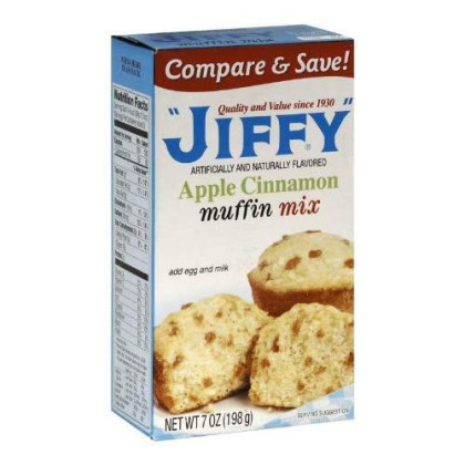 Jiffy Muffin Mix Apple Cinnamon, 7-Ounce Boxes (Pack of 24)