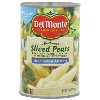 Del Monte Sliced Pears Packed in Water Artificailly Sweetened, No Sugar Added, 14.5-Ounce (Pack of 6)