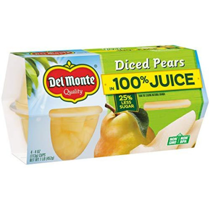 Del Monte Diced Pears Plastic Fruit Cups Made with Real Fruit Juice, 4.4-Ounce (Pack of 24)