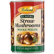 Roland Mushrooms, Straw, Whole Peeled, 15 Ounce (Pack of 8)