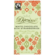 Divine White Chocolate with Strawberries Bar, 3.5 Ounce (Pack of 10)