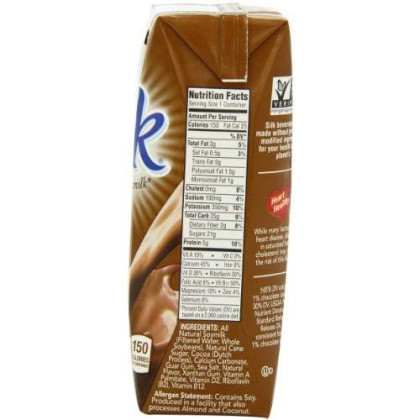 Silk Chocolate Soymilk 8-Ounce Aseptic Cartons (Pack Of 18), Chocolate Flavored Non-Dairy Soy Milk, Individually Packaged