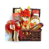 Sweet Indulgence - A Gourmet Gift Basket In Whicker Trunk With Sweet, Salty & Savory Snacks
