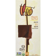 Theo Pure Dark 85% Chocolate Bars, 3-Ounce Bars (Pack Of 12)