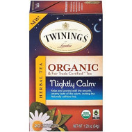Twinings Of London Organic And Fair Trade Certified Camomile With Mint &Amp; Lemon Herbal Tea Bags, 20 Count