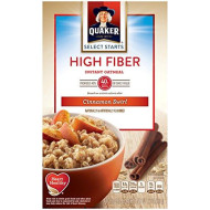 Quaker Instant Oatmeal, High Fiber, Cinnamon Swirl, Breakfast Cereal, 8-1.58 Oz Packets Per Box (Pack Of 4)