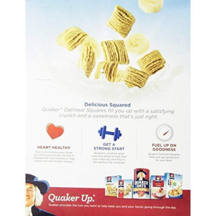 Quaker Oatmeal Squares Cereal, Cinnamon, 14.5-Ounce Boxes (Pack of 4)
