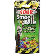 Toxic Waste Sour Smog Balls Crunchy Candy With A Sour Chewy Center 3 Ounce Packs (Pack Of 12)