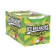Ice Breakers Sours Sugar Free Mints, (Watermelon, Green Apple, Tangerine) 1.5 Ounce (Pack Of 8)