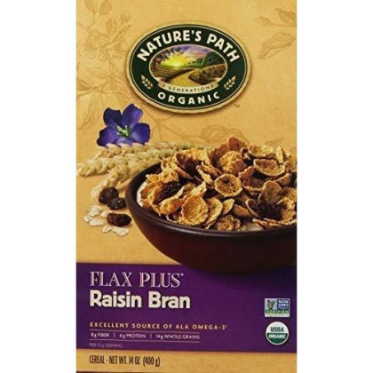 NATURES PATH CEREAL FLK FLAX PLUS RSN, 14 OZ, PK- 6