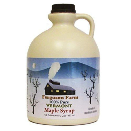 Ferguson Farms 100% Pure Vermont Maple Syrp, Grade A Medium, Jug Half Gallon (64oz)