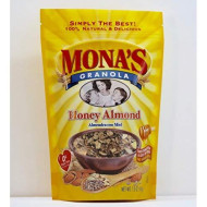 Mona's Honey Almond Granola, 12 Packages - Non-GMO - No Preservatives - No added refined sugar in the USA, 48 Contiguous States